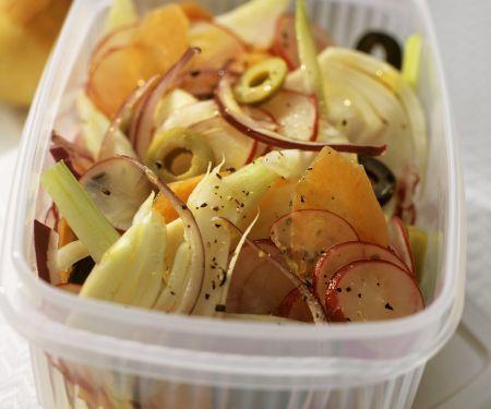 Fenchelsalat mit Karotten, Zwiebeln und Radieschen