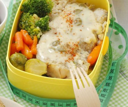 Fisch, Reis und Gemüse