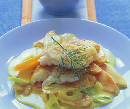 Fischfilet auf Currykarotten mit Ingwer