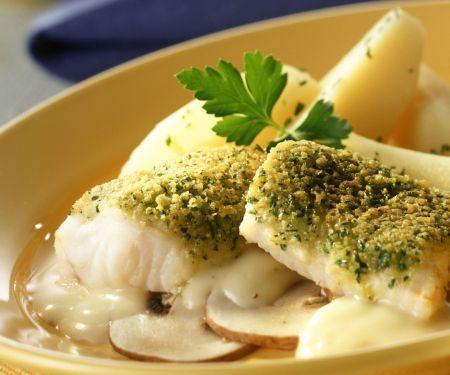 Fischfilet mit Petersilienhaube in Wermut