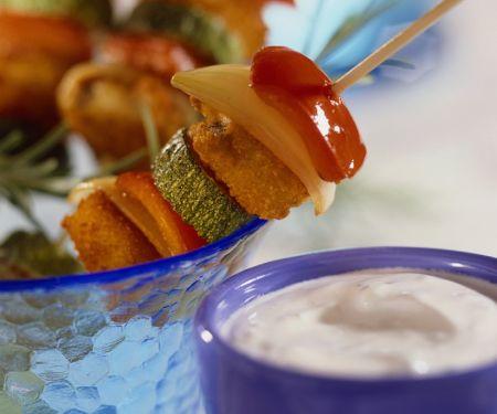 Fischstäbchen-Spieße mit Gemüse