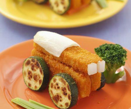 Fischstäbchen und Zucchini