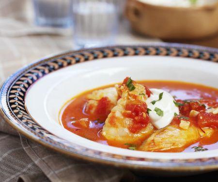 Fischsuppe mit Knoblauchpaste