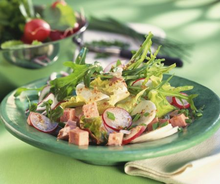 Fleischwurstsalat mit Rettich und Rucola