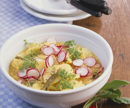 Frischer Kartoffelsalat mit Radieschen und Kresse