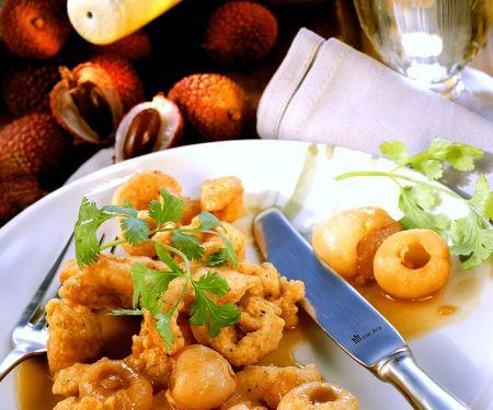Frittiertes Hähnchen mit Litschi-Sauce