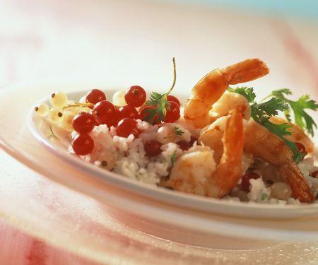 Fruchtiger Reis mit Garnelen