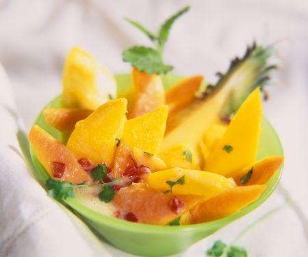 Fruchtsalat mit Kokossauce