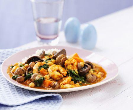 Garnelen-Curry mit Champignons und Spinat