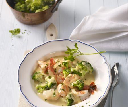 Garnelen-Lachs-Suppe mit Brokkoli