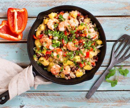 Garnelen-Reis-Pfanne mit Mango, Bohnen und Paprika