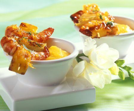 Garnelen-Spieße mit Mango