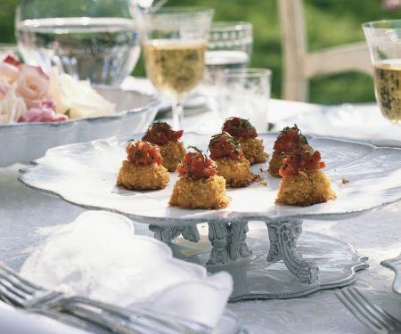 Garnelenküchlein mit Ingwer-Tomaten-Chutney