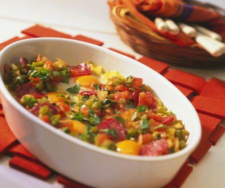 Gebackene Polenta mit Gemüse und Ei