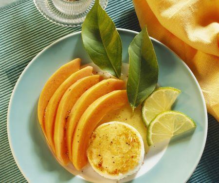 Gebackene Ziegenkäserolle mit Melone