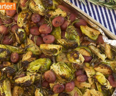 Gebackener Rosenkohl mit Trauben und Walnüssen