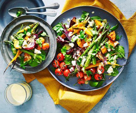 Gebackenes Gemüse mit Knoblauch-Senf-Dressing