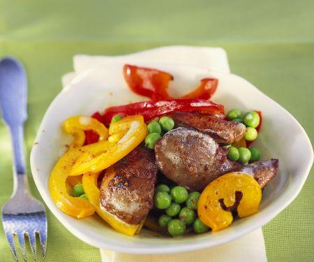 Gebratene Geflügelleber mit Gemüse