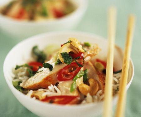 Gebratener Reis mit Hähnchenbrust