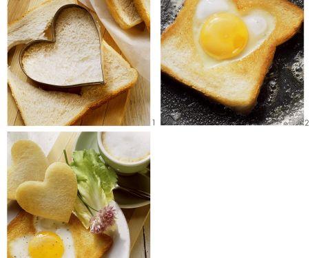 Gebratener Toast mit Spiegelei-Herz