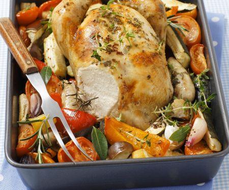 Gebratenes Hähnchen mit Ratatouille-Gemüse
