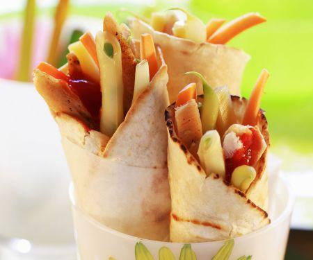 Geflügel-Gemüse-Wraps