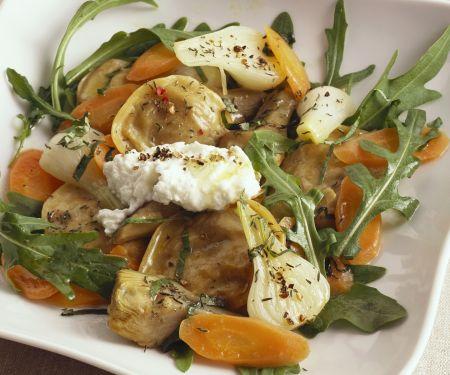 Gefüllte Nudeln mit Artischocken, Karotten, Rucola und Ziegenkäse