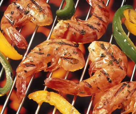 Gegrillte Garnelen mit Paprika