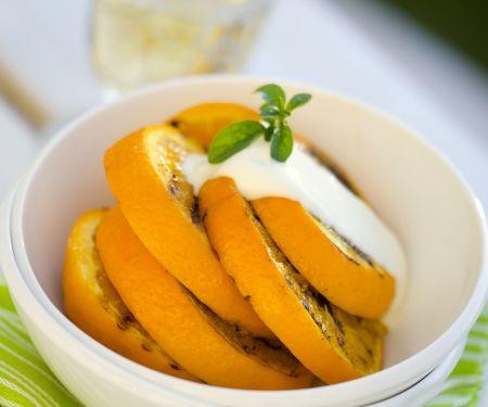 Gegrillte Orange mit Vanillesoße