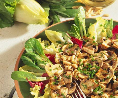Gegrillte Pilze auf Blattsalat