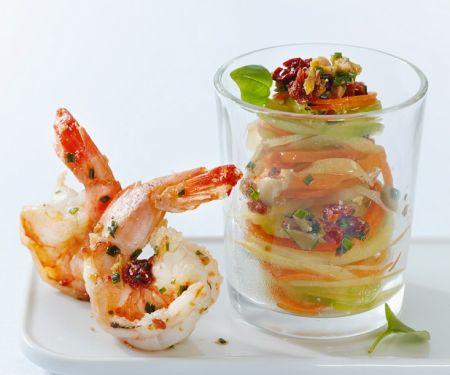 Gemüsenudeln mit Shrimps