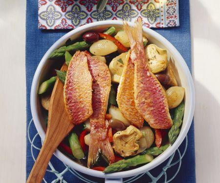 Gemüsepfanne mit Fisch