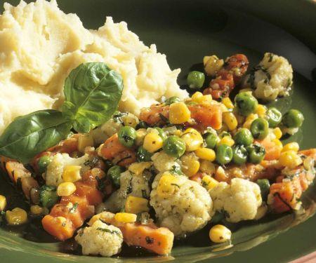 Gemüsepfanne mit Püree