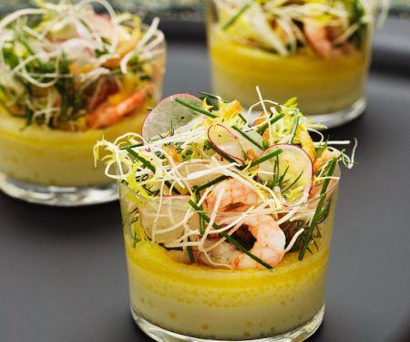 Gemüsesuppe mit Krabben