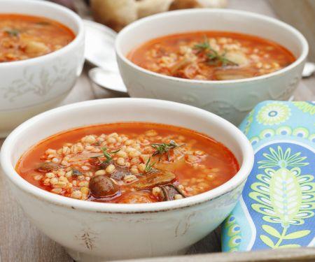 Gersten-Tomaten-Suppe mit Pilzen