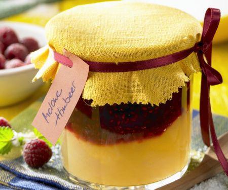 Geschichtete Himbeer-Melonen-Marmelade