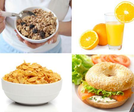 Collage aus Cerealien, Bagel, Orangensaft, Müsli