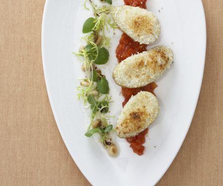 Gratinierte Kartoffeln mit Mont d'Or und Aprikosen-Tomaten-Chutney