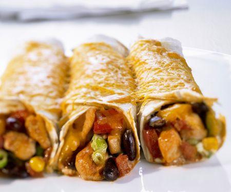 Gratinierte Tortillaröllchen