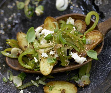 Grüne Kartoffelpfanne