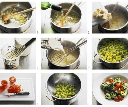 Grüne Nudeln mit Käsesoße