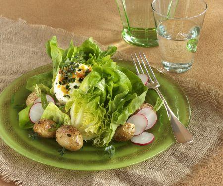 Grüner Salat mit Ziegenfrischkäse und Ofenkartoffeln