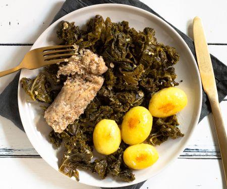 Grünkohl mit vegetarischen Pinkel