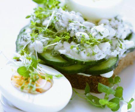 Gurken-Brot mit Hüttenkäse und gekochten Eiern