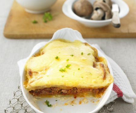 Hackfleisch-Lasagne mit Kartoffeln und Champignons