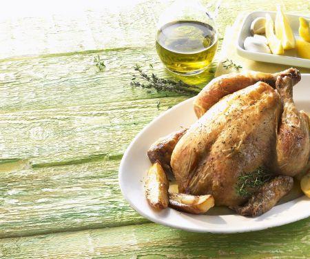 Hähnchen auf mediterrane Art mit Zitrone, Thymian und Olivenöl