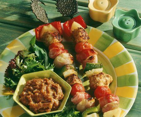 Hähnchen-Gemüse-Saté