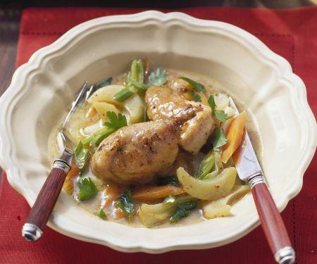 Hähnchen in Weißwein mit Kohlrabi und Karotten