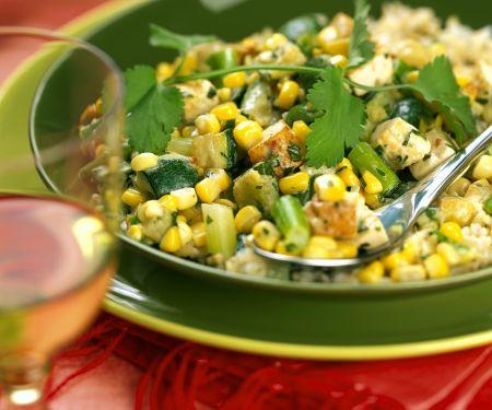 Hähnchenfleisch mit Mais, Papaya und Zucchini