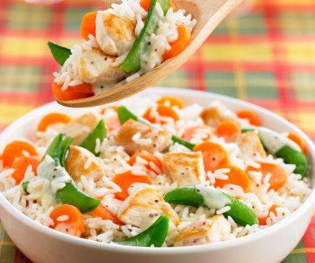 Hähnchenfleisch mit Reis und Gemüse